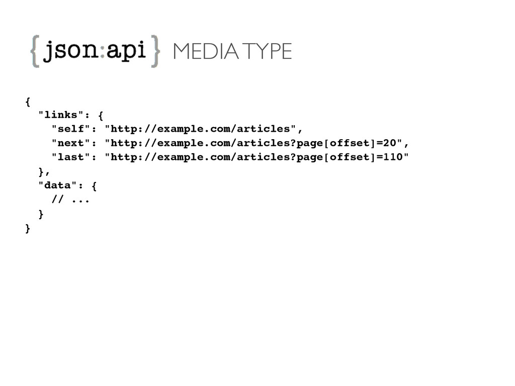 "MEDIA TYPE {! ""links"": {! ""self"": ""http://examp..."