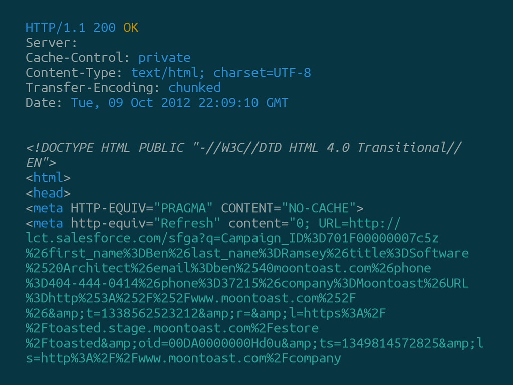 HTTP/1.1 200 OK Server: Cache-Control: private ...