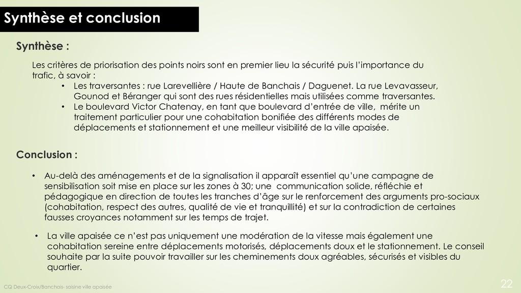 Synthèse et conclusion Les critères de priorisa...
