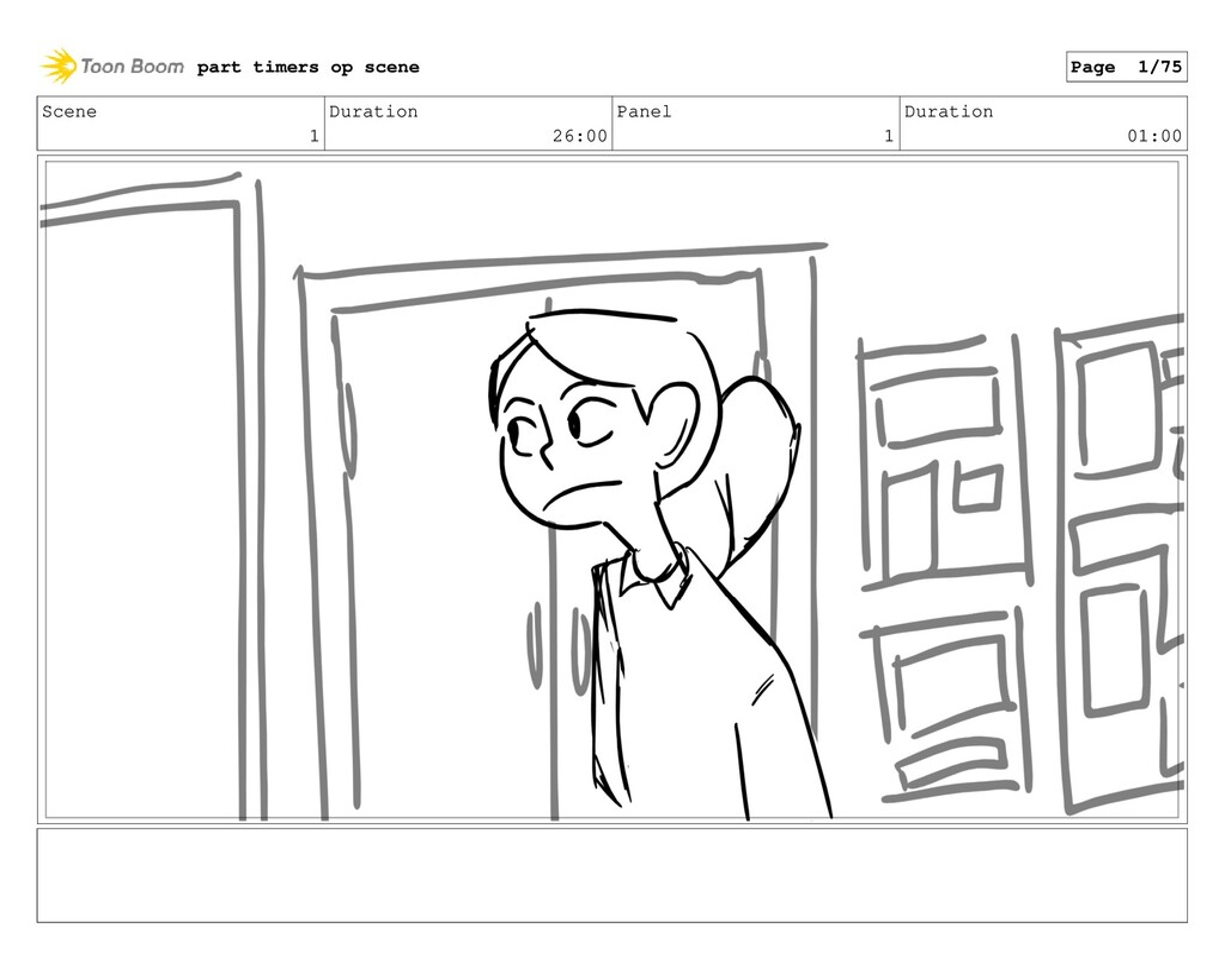 Scene 1 Duration 26:00 Panel 1 Duration 01:00 p...