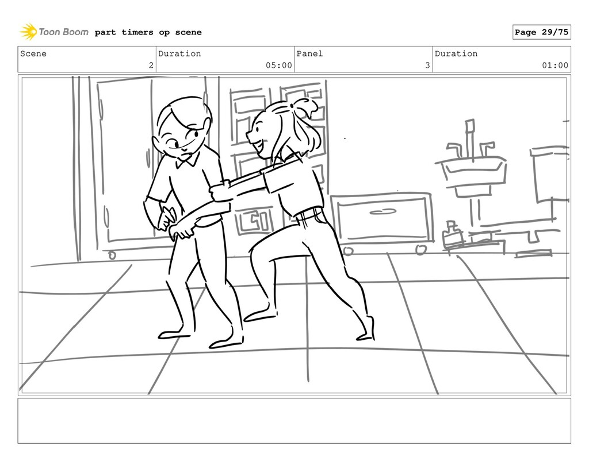 Scene 2 Duration 05:00 Panel 3 Duration 01:00 p...