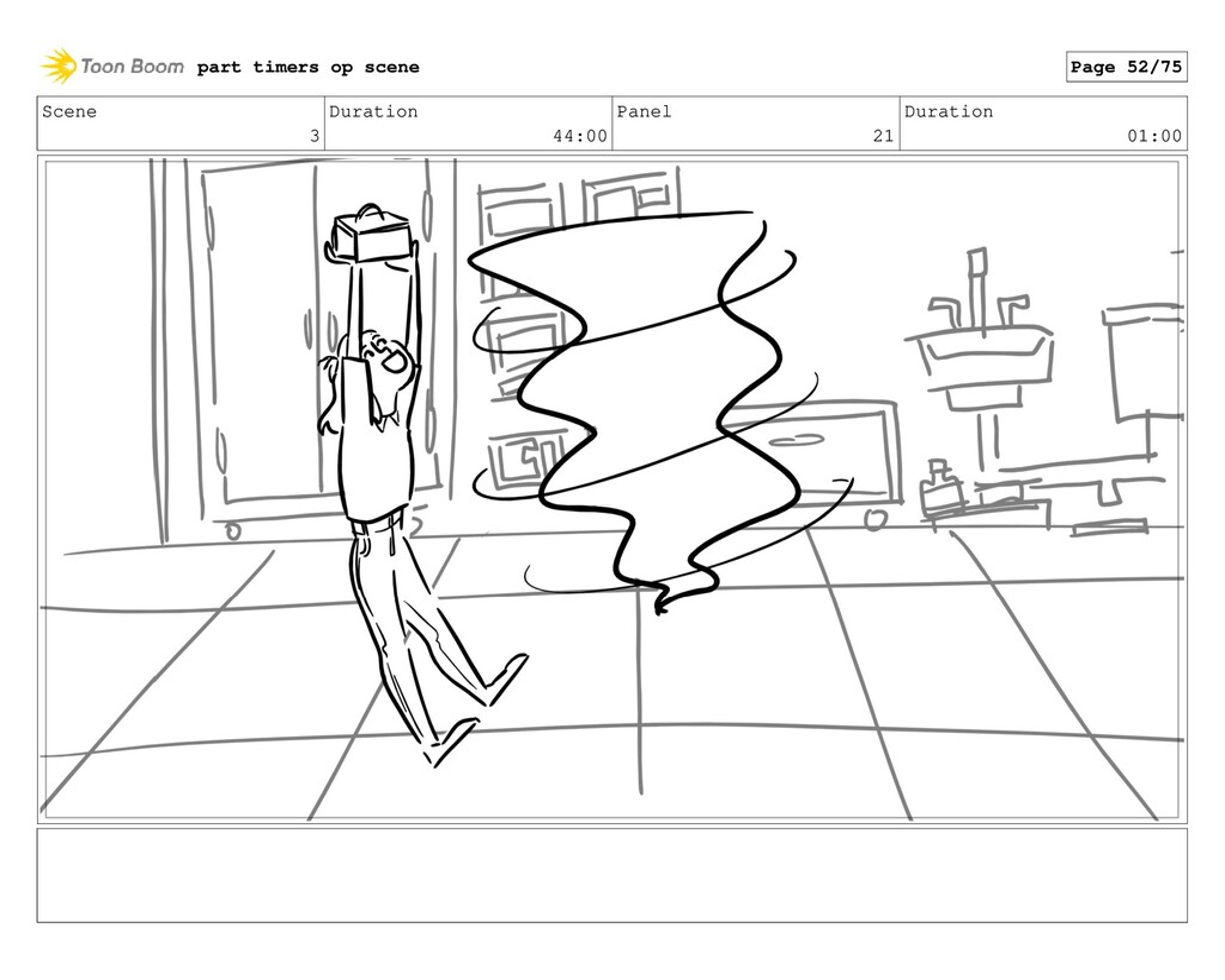 Scene 3 Duration 44:00 Panel 21 Duration 01:00 ...