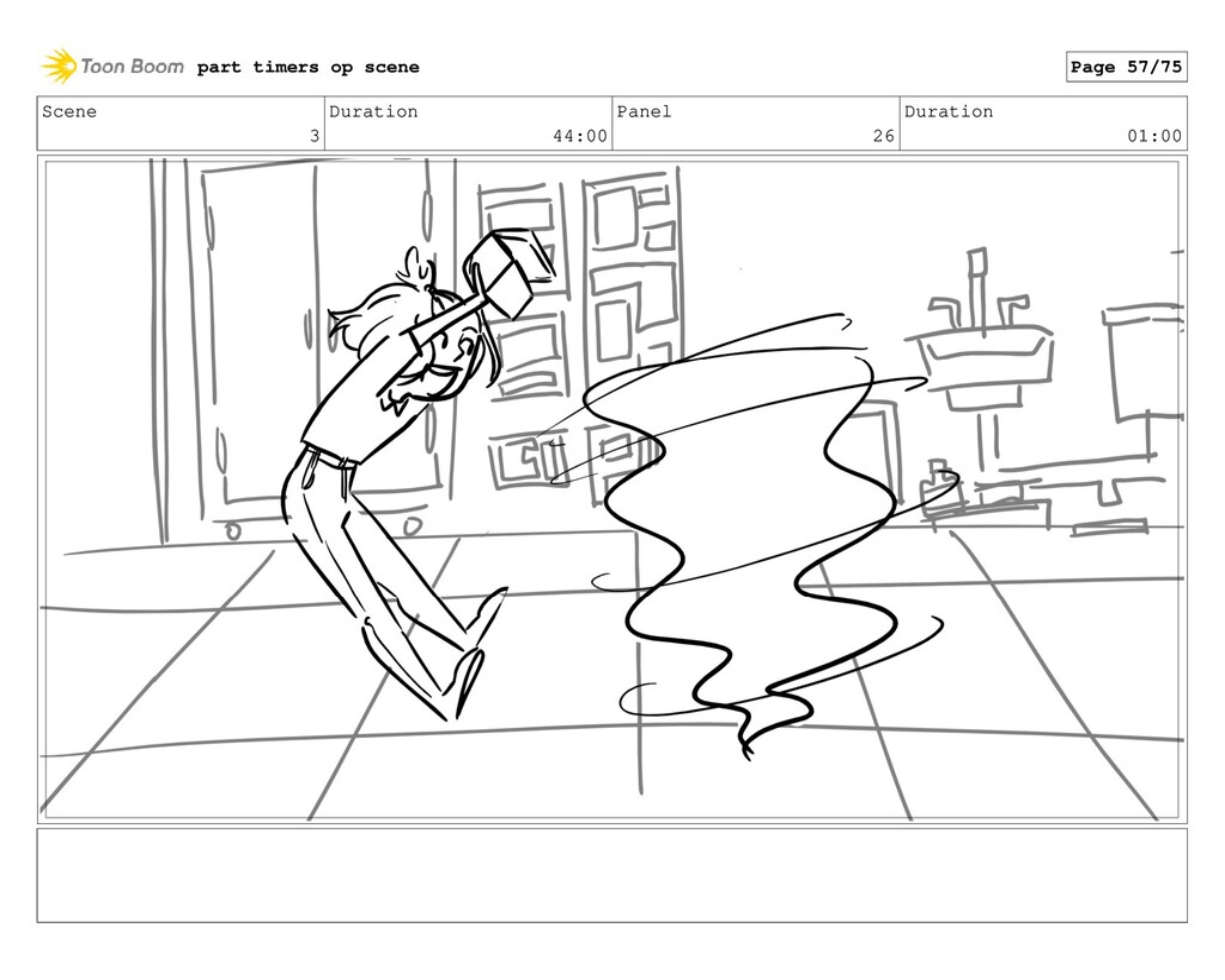 Scene 3 Duration 44:00 Panel 26 Duration 01:00 ...
