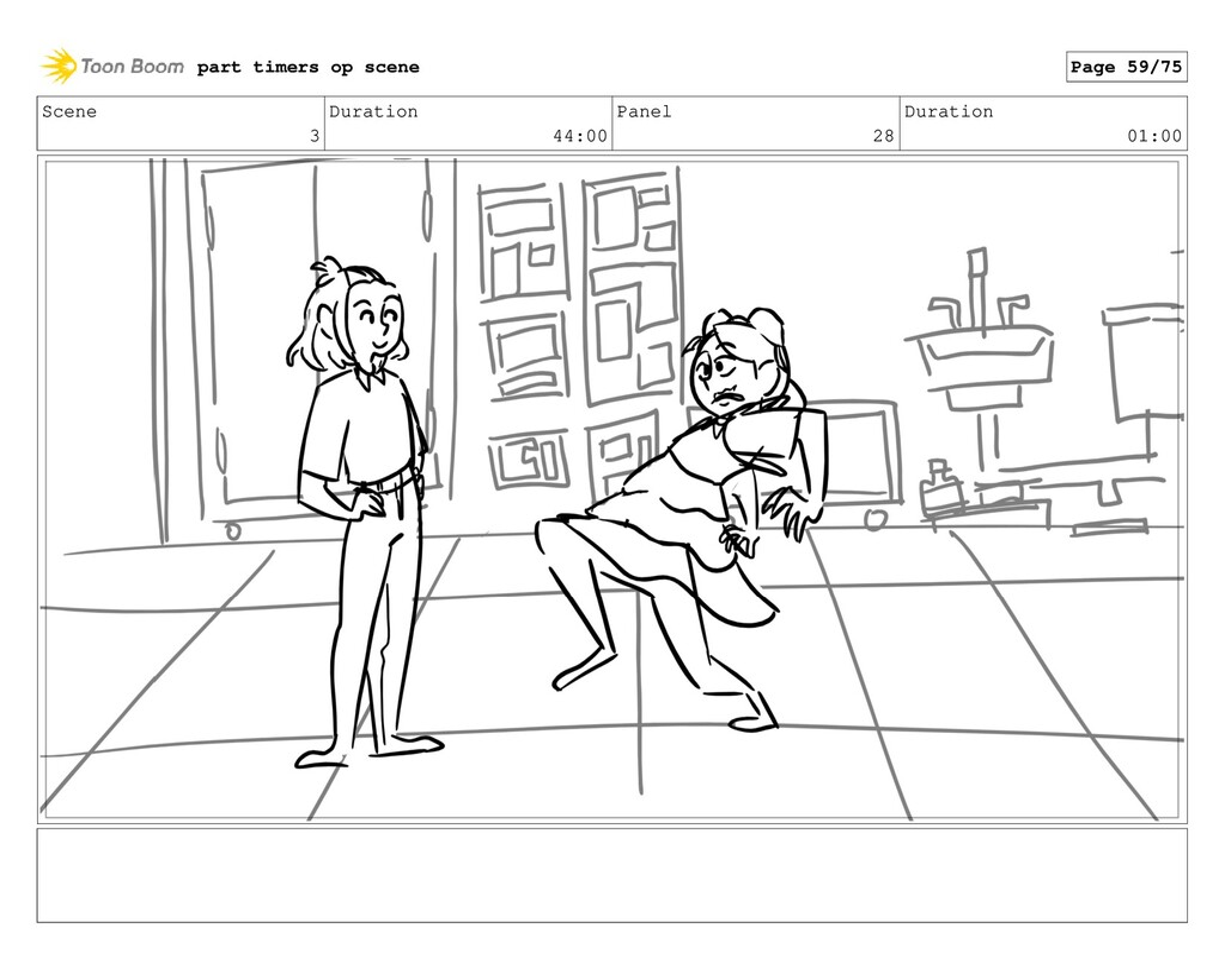 Scene 3 Duration 44:00 Panel 28 Duration 01:00 ...
