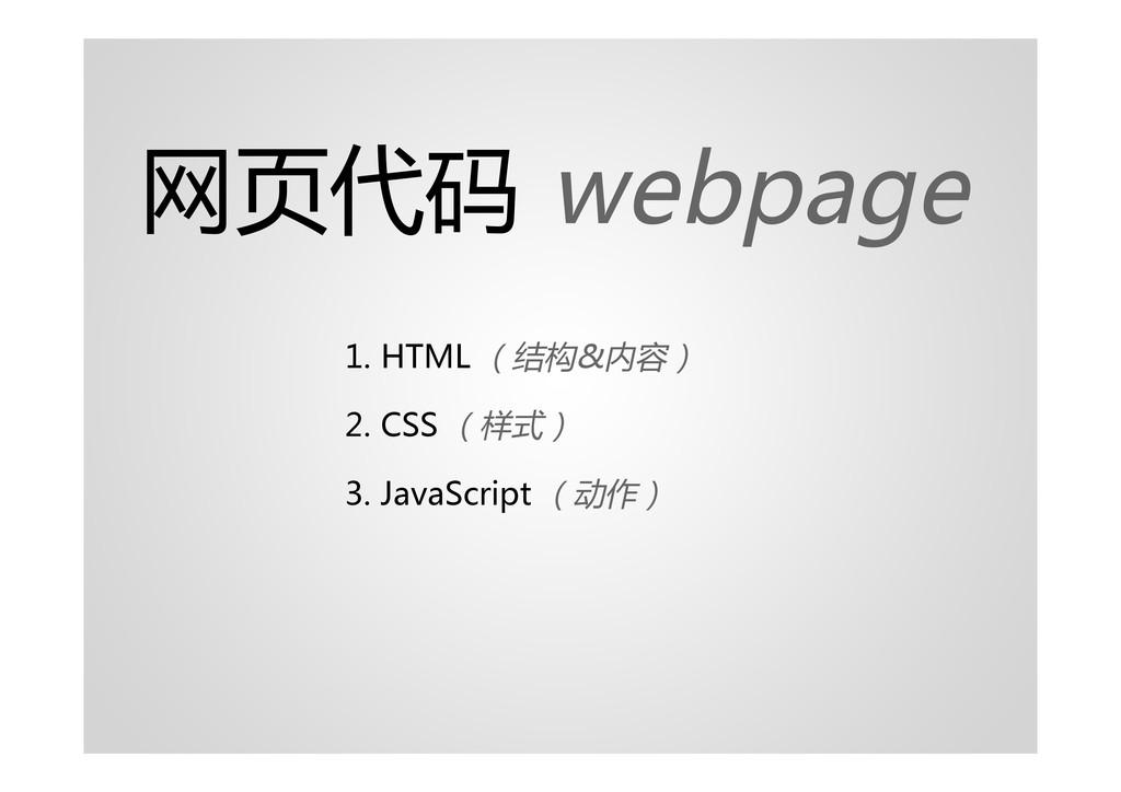 网页代码 webpage 1. HTML (结构&内容) 2. CSS (样式) 3. Jav...