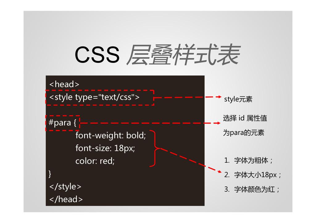 "CSS 层叠样式表 <head> <style type=""text/css""> #para ..."
