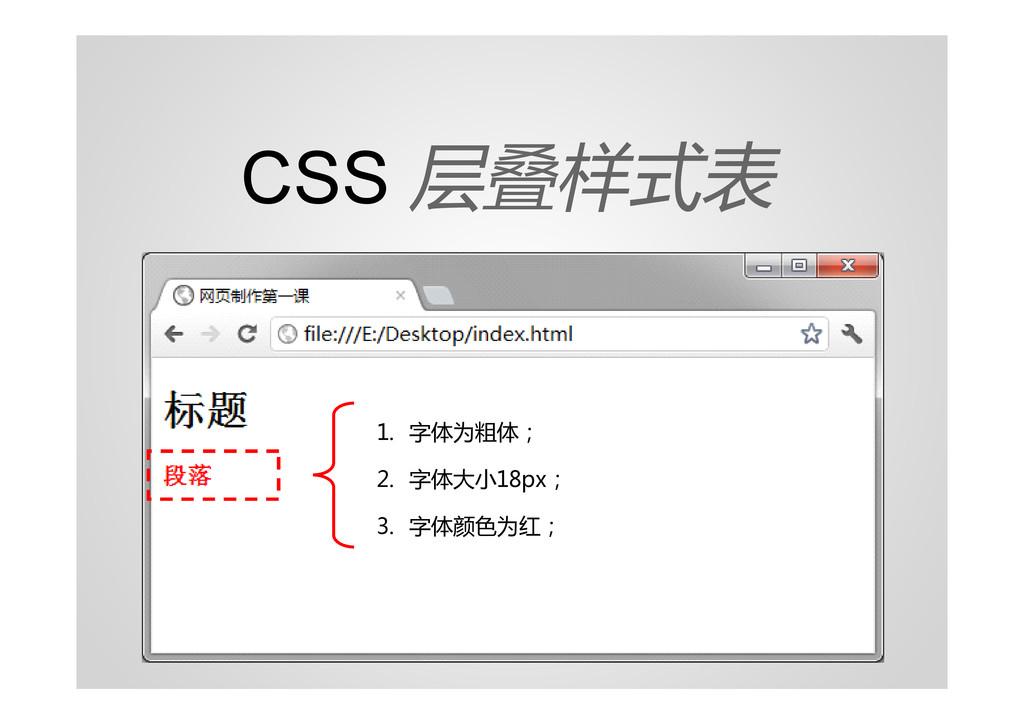 CSS 层叠样式表 1. 字体为粗体; 2. 字体大小18px; 3. 字体颜色为红;