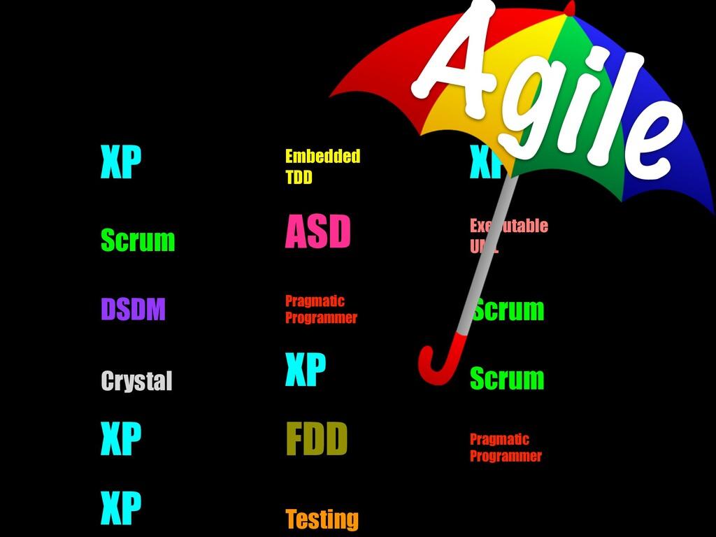 XP Embedded TDD XP Scrum ASD Executable UML DSD...