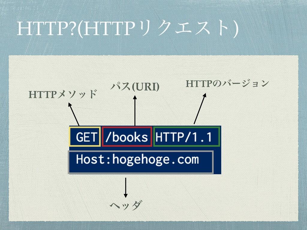HTTP?(HTTPϦΫΤετ) HTTPϝιου ύε(URI) HTTPͷόʔδϣϯ ϔομ