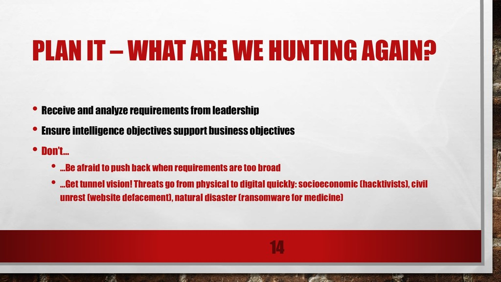 PLAN IT – WHAT ARE WE HUNTING AGAIN? • Receive ...