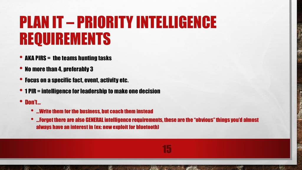 PLAN IT – PRIORITY INTELLIGENCE REQUIREMENTS • ...