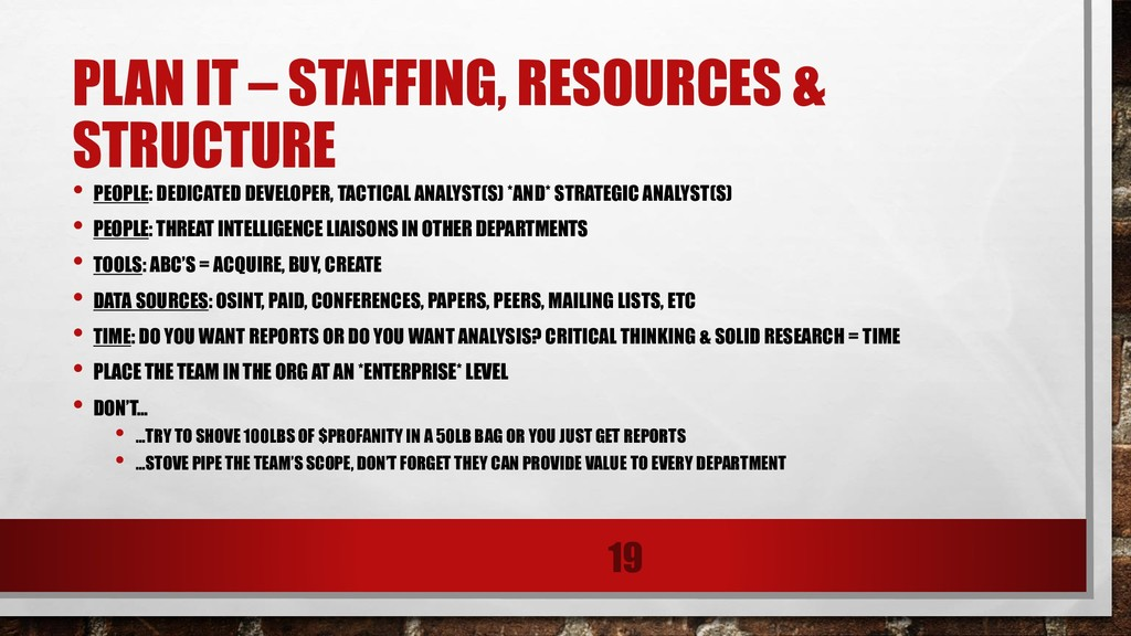 PLAN IT – STAFFING, RESOURCES & STRUCTURE • PEO...