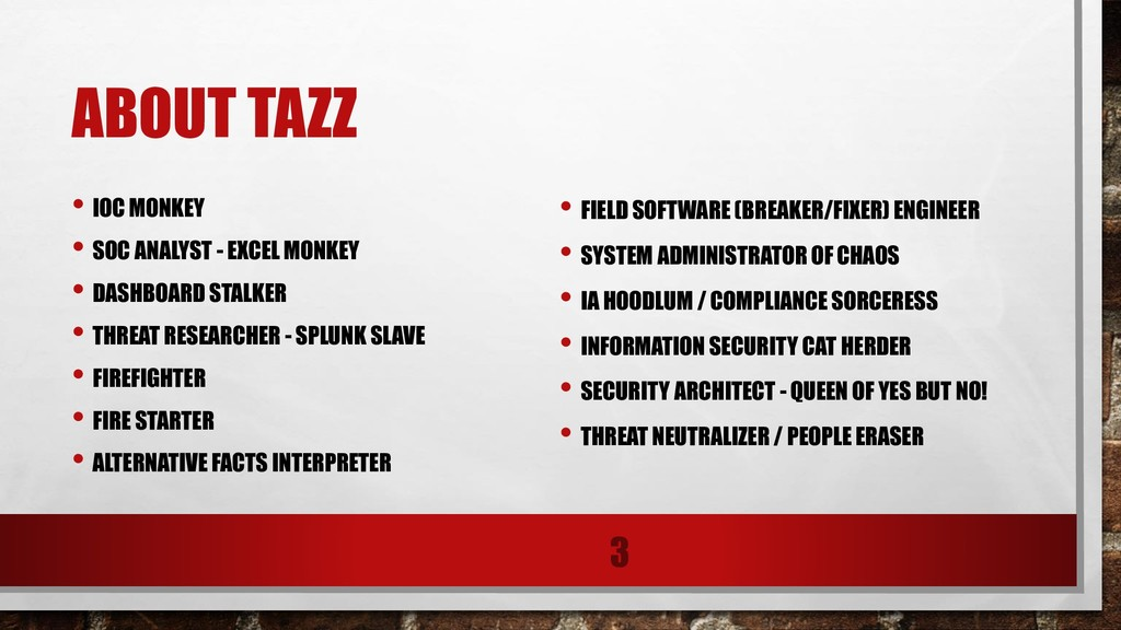 ABOUT TAZZ • IOC MONKEY • SOC ANALYST - EXCEL M...