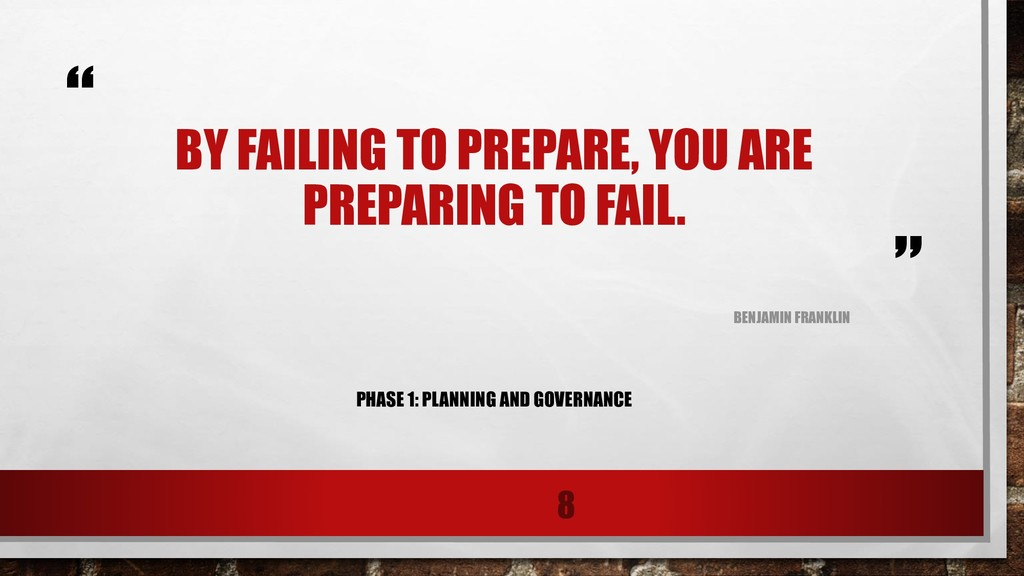 """ "" BY FAILING TO PREPARE, YOU ARE PREPARING TO..."