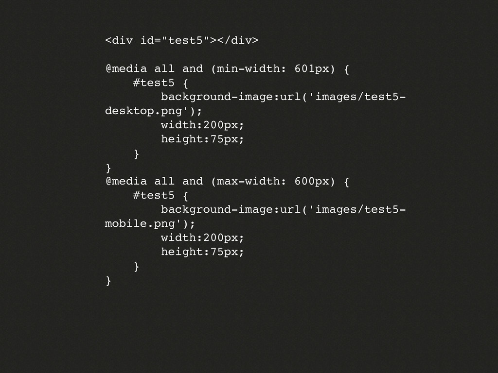 "<div id=""test5""></div> @media all and (min-widt..."