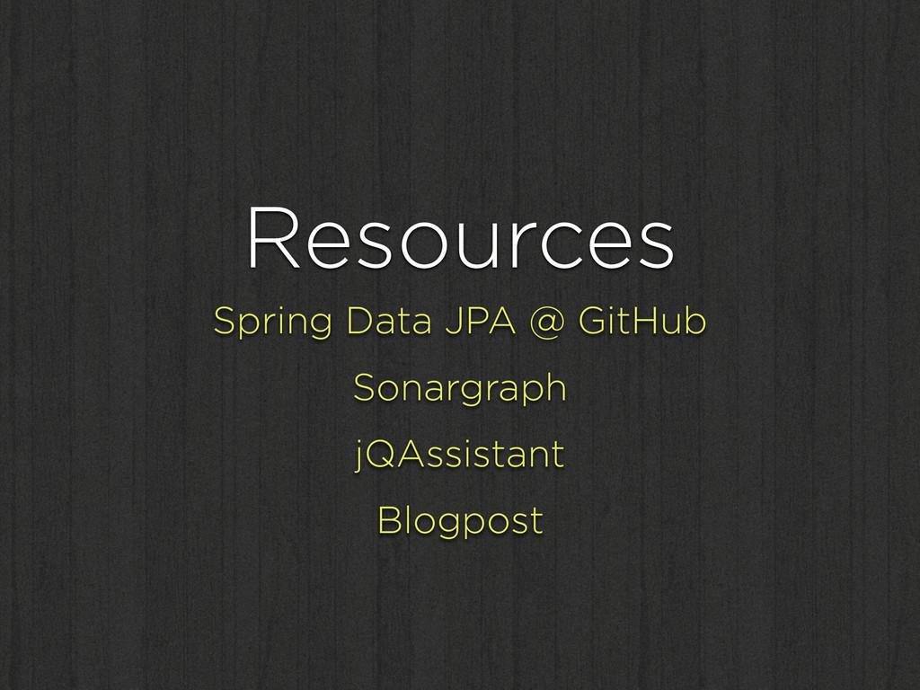 Resources Spring Data JPA @ GitHub Sonargraph j...