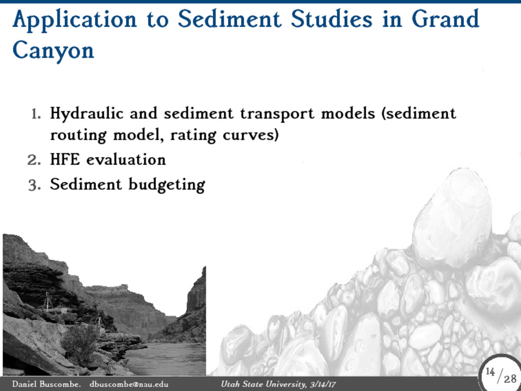 Application to Sediment Studies in Grand Canyon...