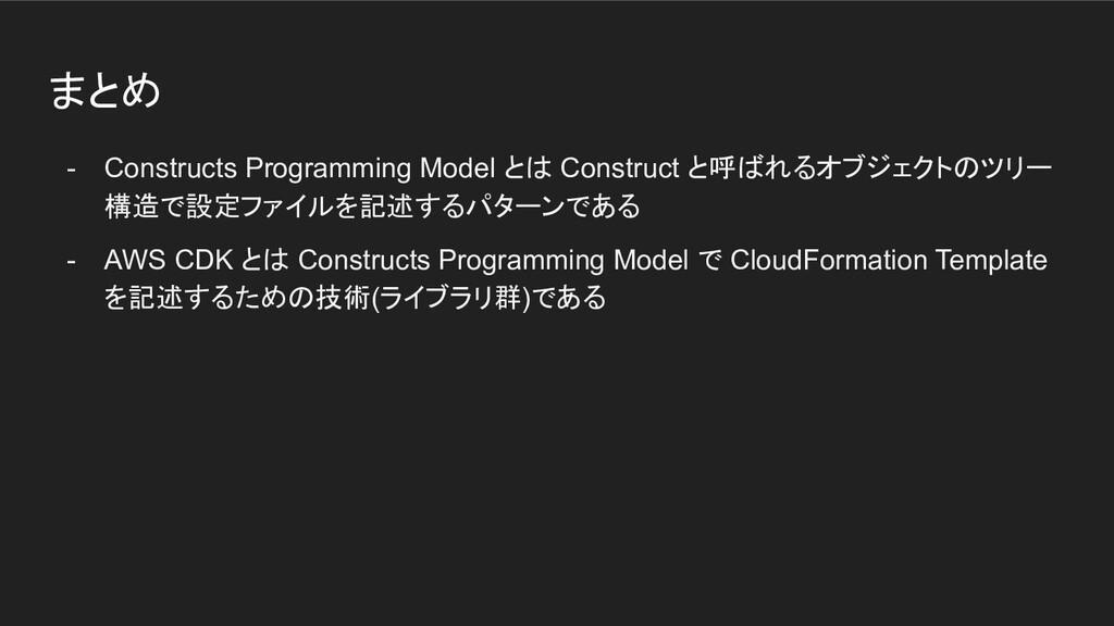 まとめ - Constructs Programming Model とは Construct...