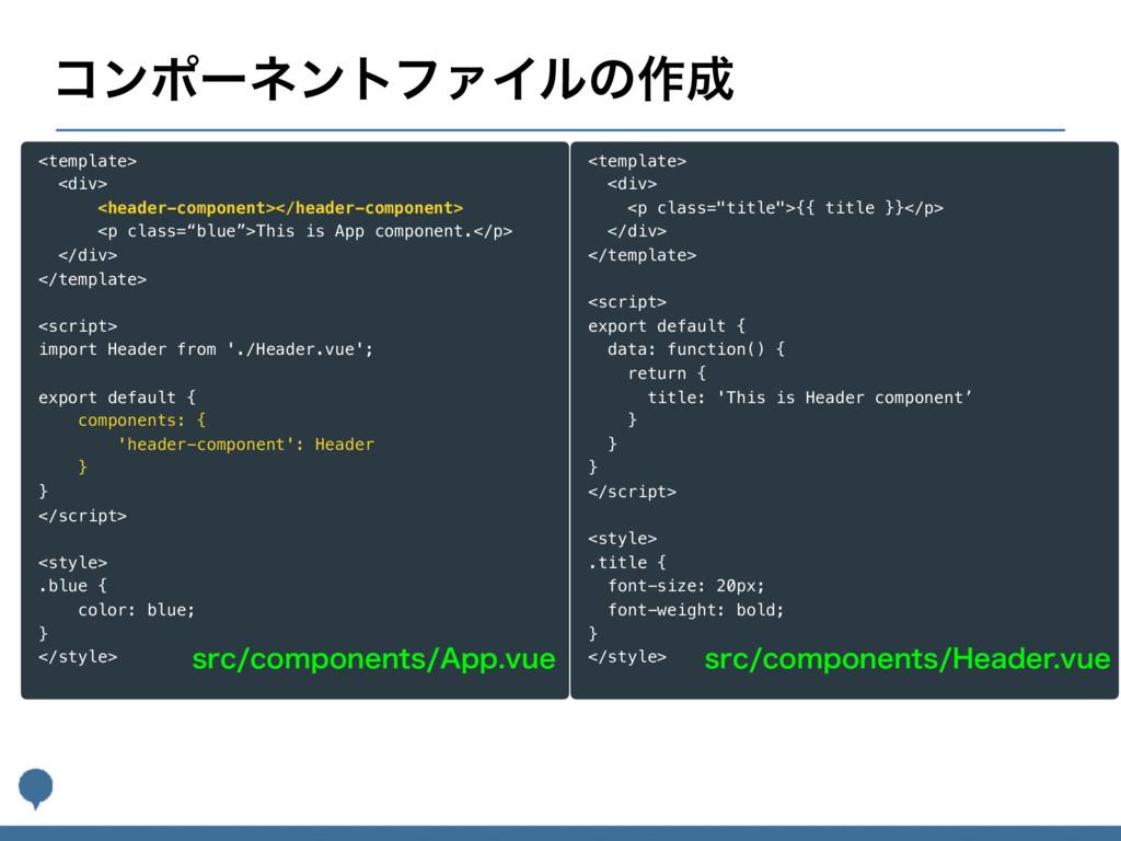 ίϯϙʔωϯτϑΝΠϧͷ࡞ <template> <div> <header-compone...