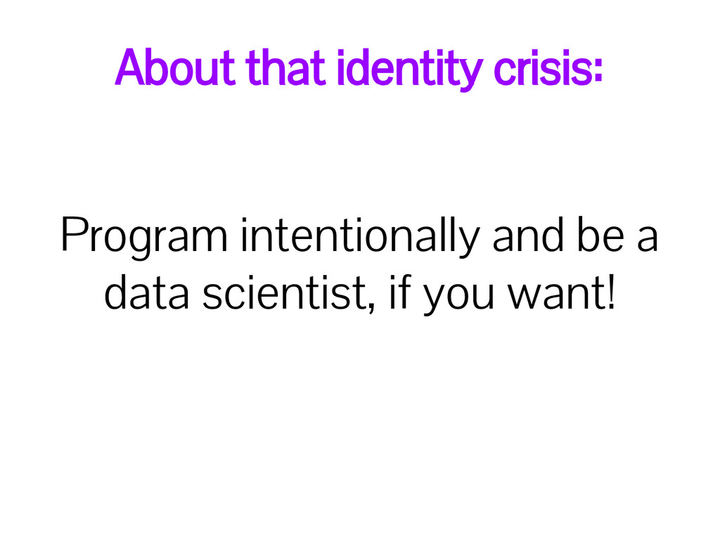 About that identity crisis: Program intentional...
