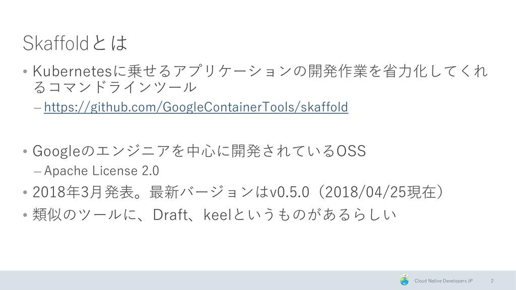 Cloud Native Developers JP Skaffoldとは • Kuberne...