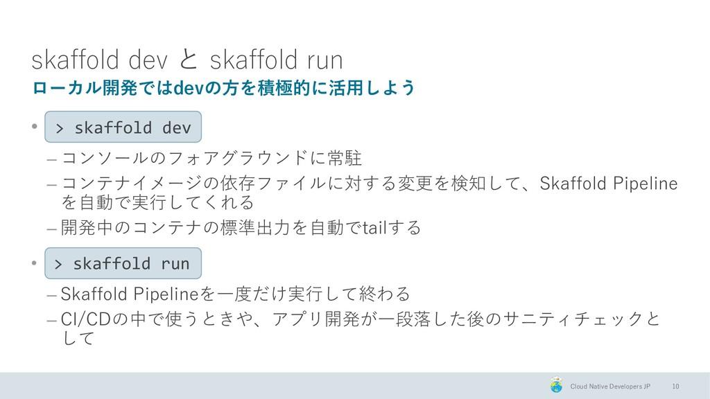 Cloud Native Developers JP skaffold dev と skaff...