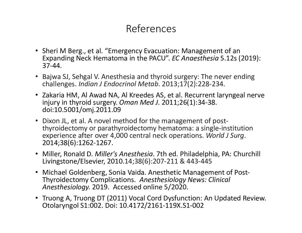 "References • Sheri M Berg., et al. ""Emergency E..."
