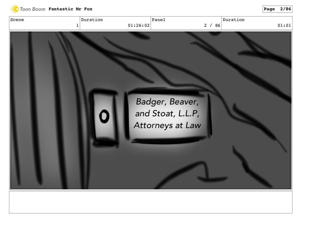 Scene 1 Duration 01:26:02 Panel 2 / 86 Duration...