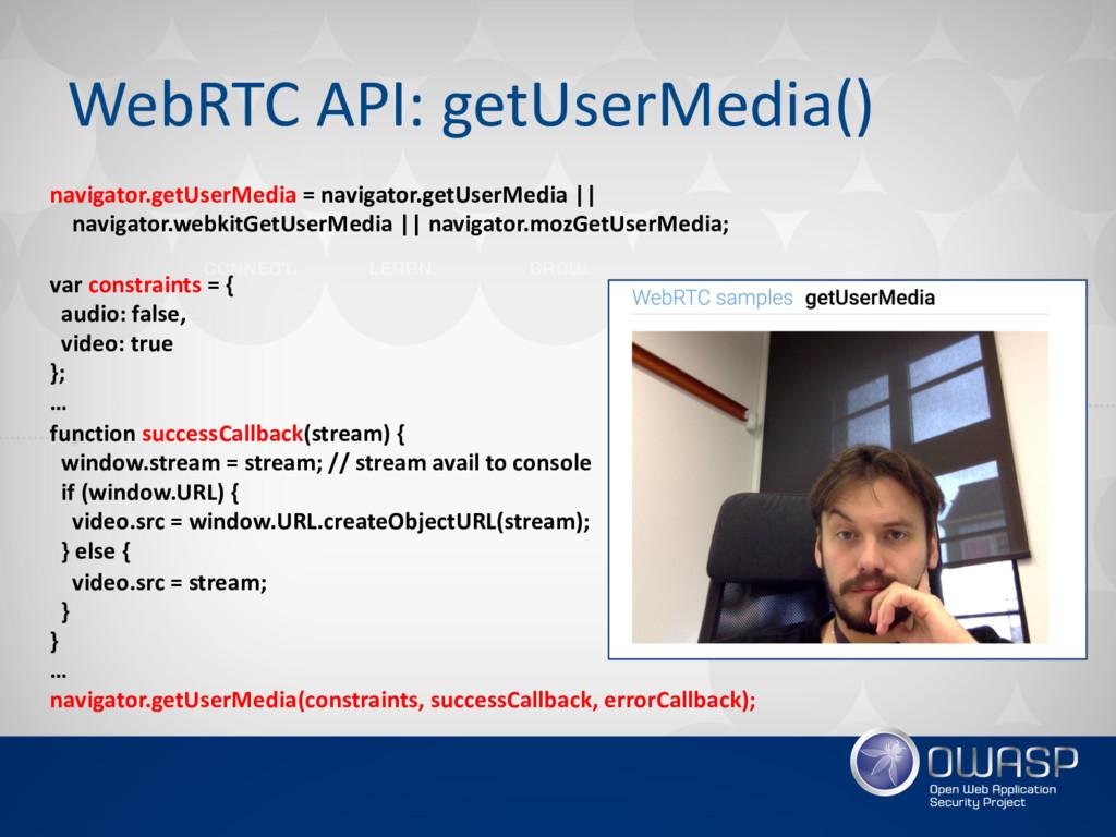 WebRTC API: getUserMedia() navigator.getUserMed...