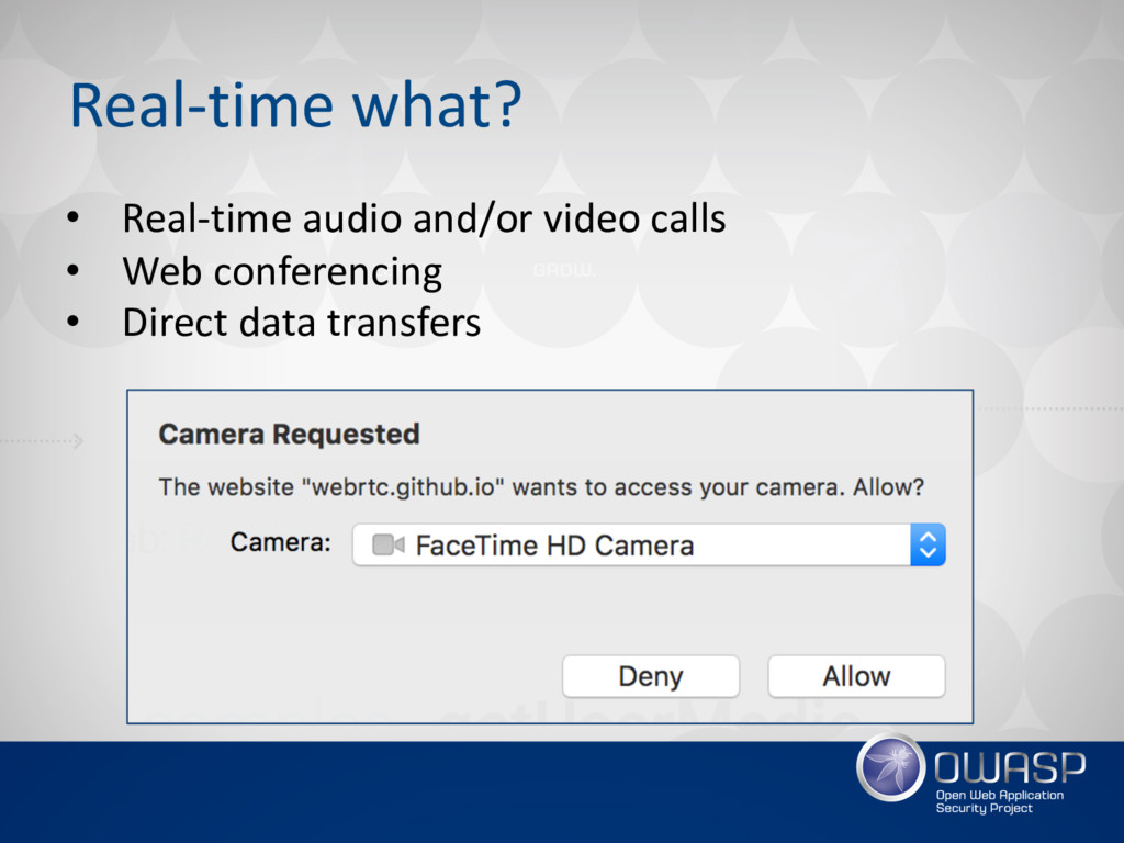 Real-time what? • Real-time audio and/or video ...