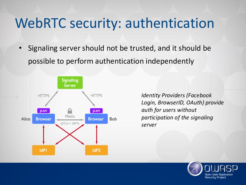 WebRTC security: authentication • Signaling ser...