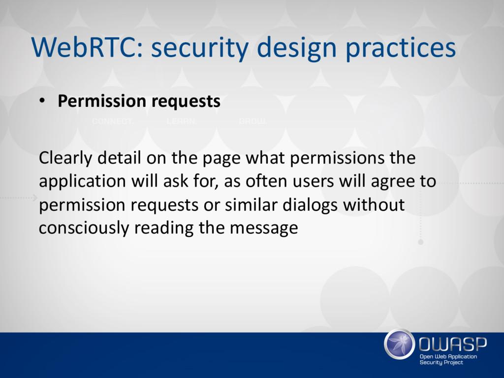 WebRTC: security design practices • Permission ...