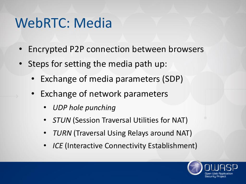 WebRTC: Media • Encrypted P2P connection betwee...