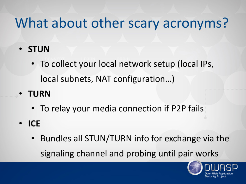 What about other scary acronyms? • STUN • To co...