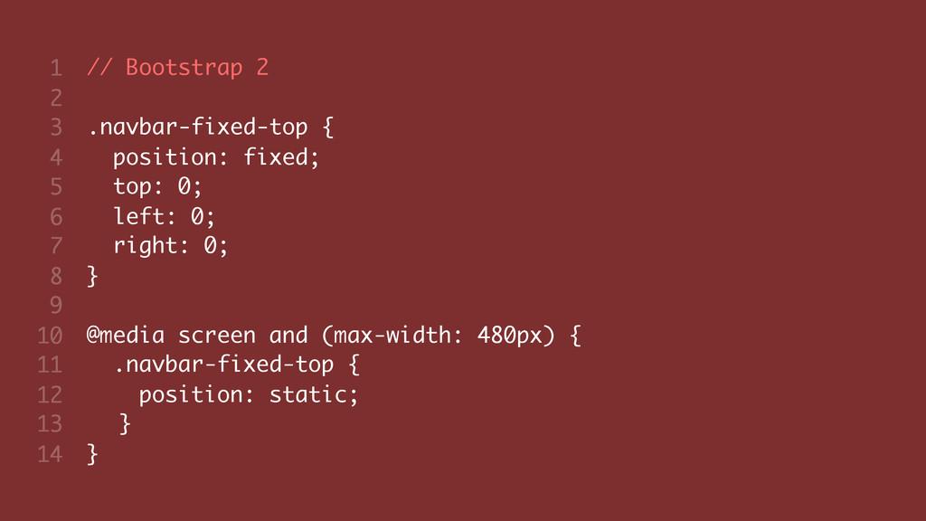 // Bootstrap 2 .navbar-fixed-top { position: fi...