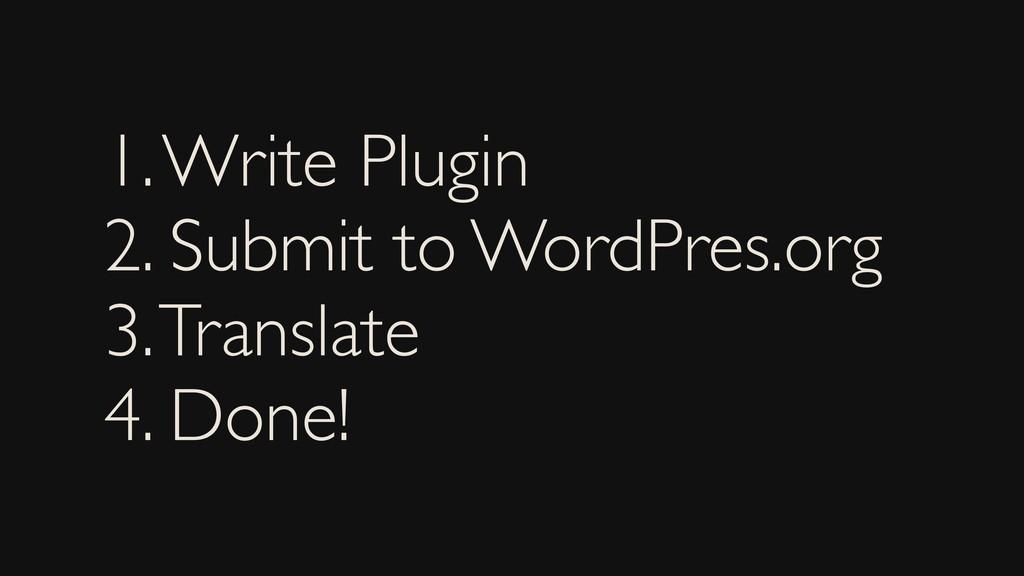 1. Write Plugin 2. Submit to WordPres.org 3. Tr...