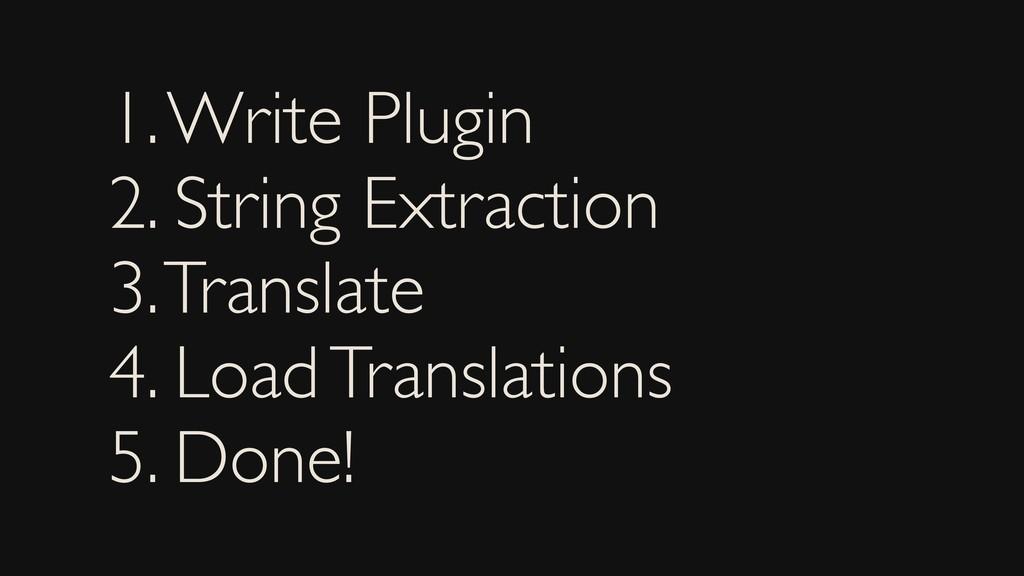 1. Write Plugin 2. String Extraction 3. Transla...