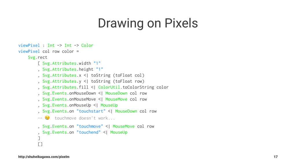Drawing on Pixels viewPixel : Int -> Int -> Col...
