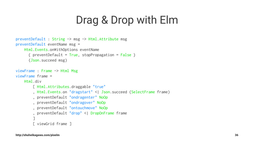 Drag & Drop with Elm preventDefault : String ->...