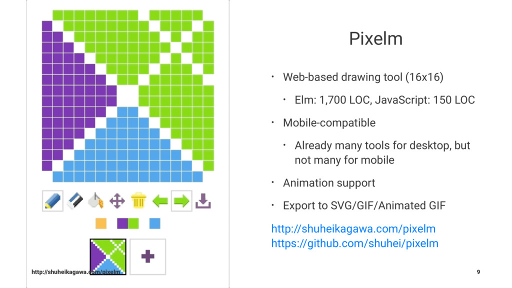 Pixelm • Web-based drawing tool (16x16) • Elm: ...