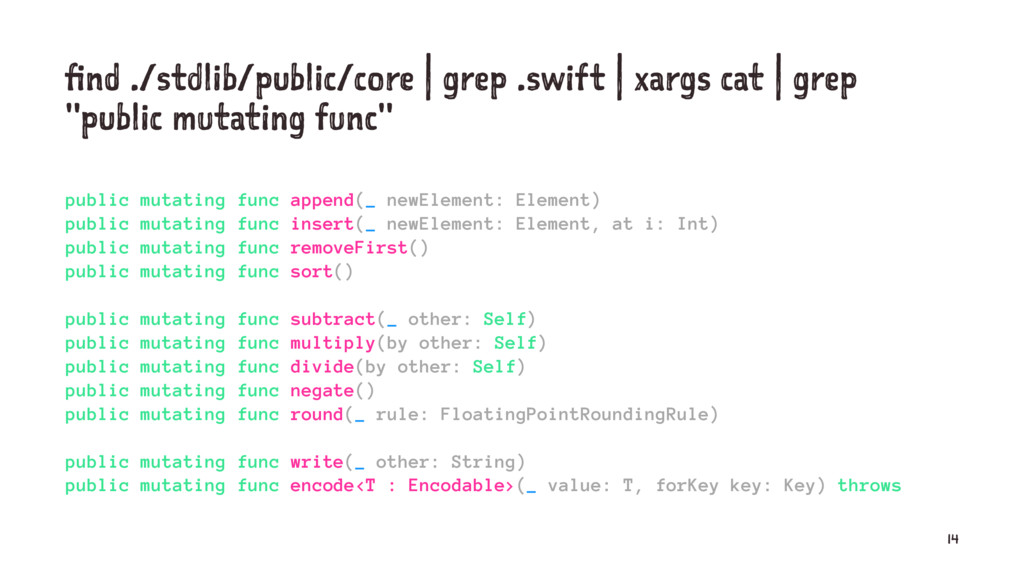 find ./stdlib/public/core | grep .swift | xargs...