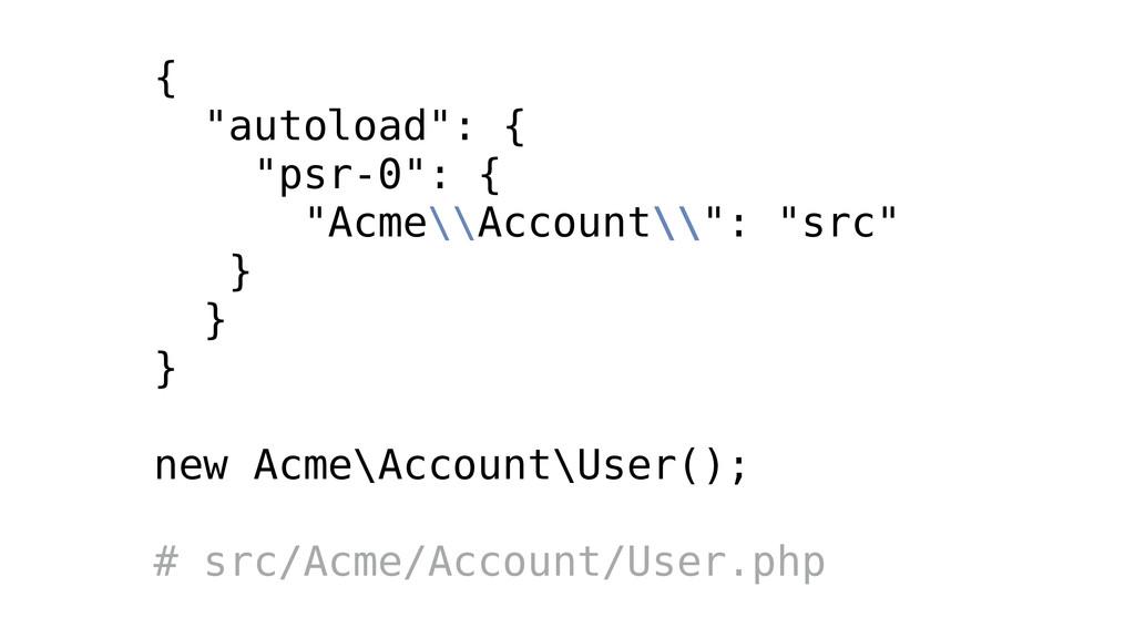 """{ """"autoload"""": { """"psr-0"""": { """"Acme\\Account\\"""": """"..."""