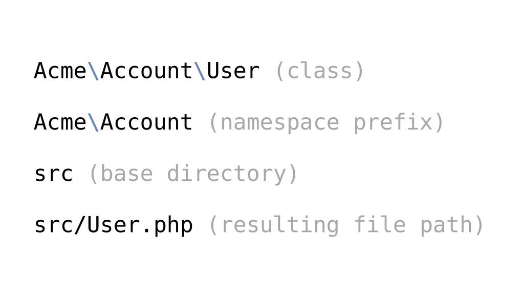 Acme\Account\User (class) ! Acme\Account (names...