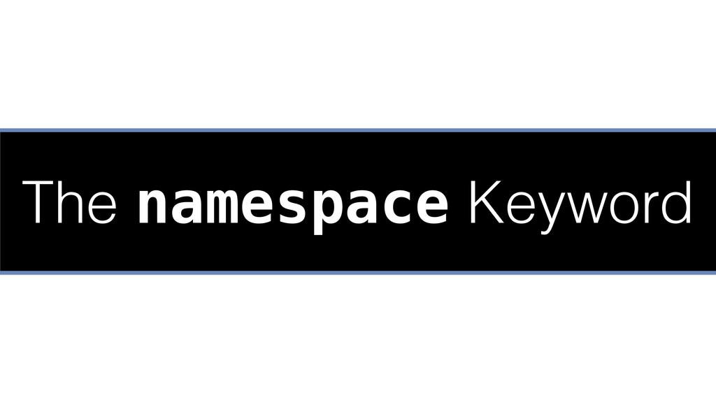 The namespace Keyword