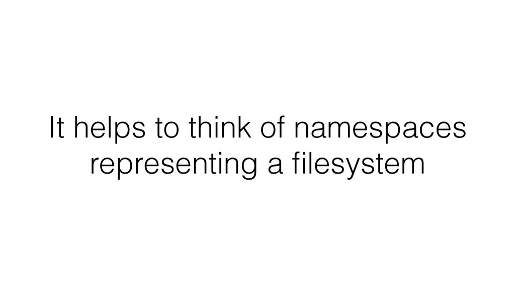 It helps to think of namespaces representing a ...