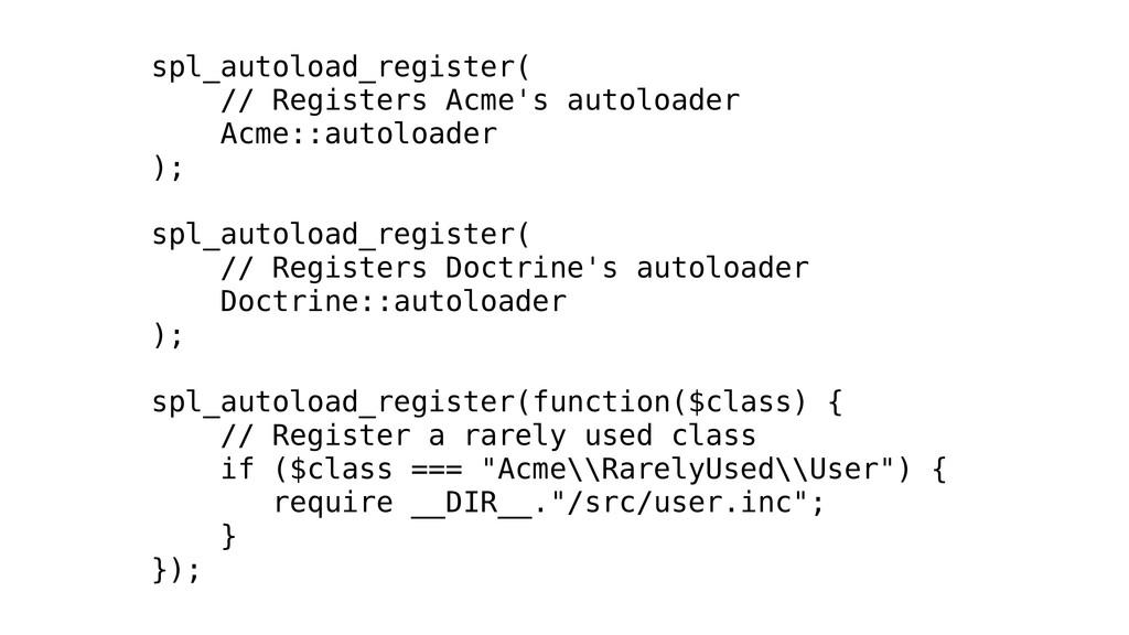 spl_autoload_register( // Registers Acme's auto...