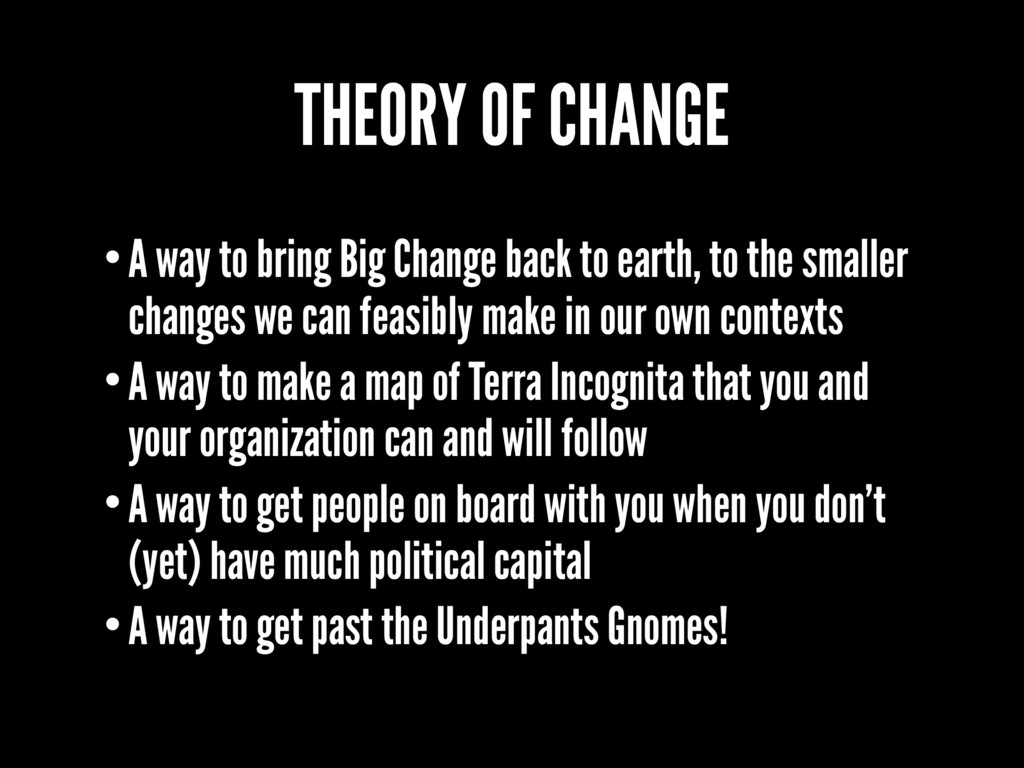 THEORY OF CHANGE •A way to bring Big Change bac...