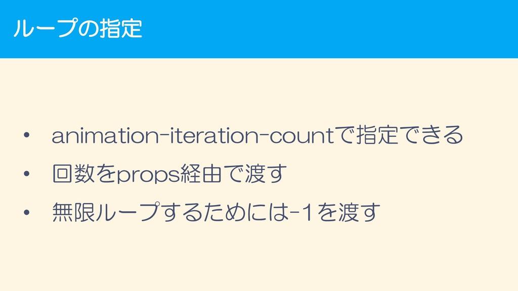 ループの指定 • animation-iteration-countで指定できる • 回数をp...