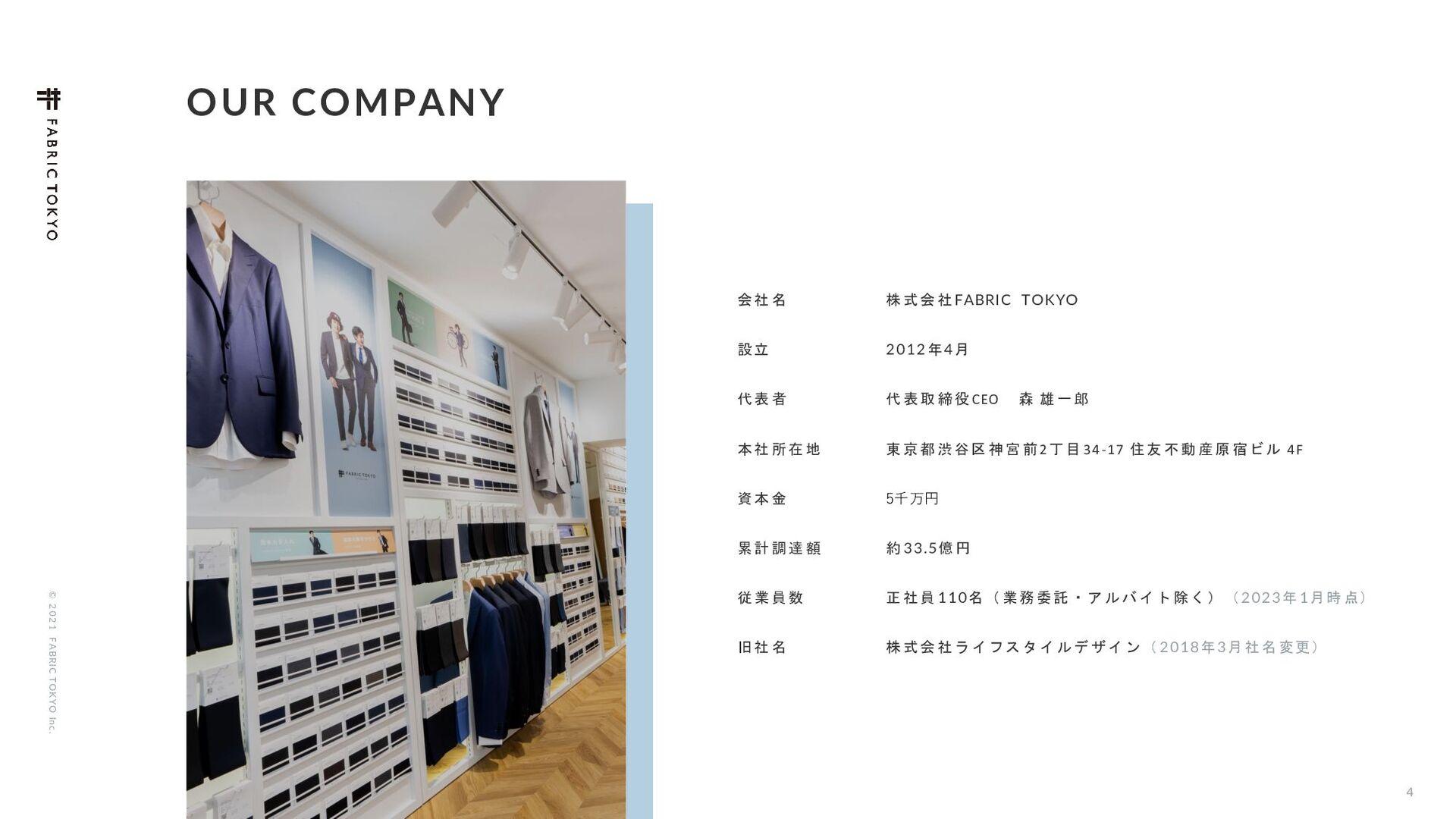 © 2021 FABRIC TOKYO Inc. 4 OUR COMPANY ձ໊ࣾ גࣜձࣾ...