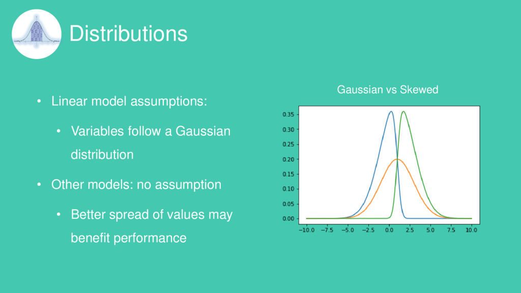 Distributions • Linear model assumptions: • Var...